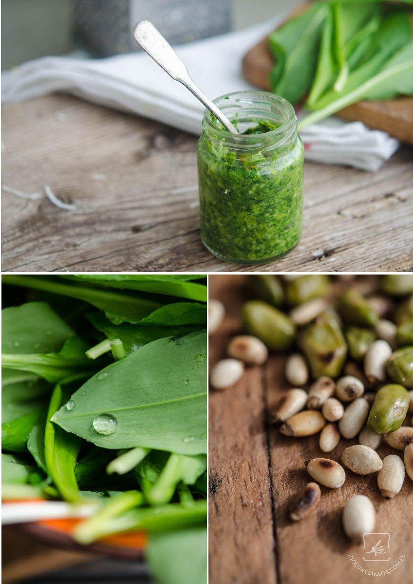 Przepis na czosnek niedźwiedzi – zielone pesto z pistacjami.