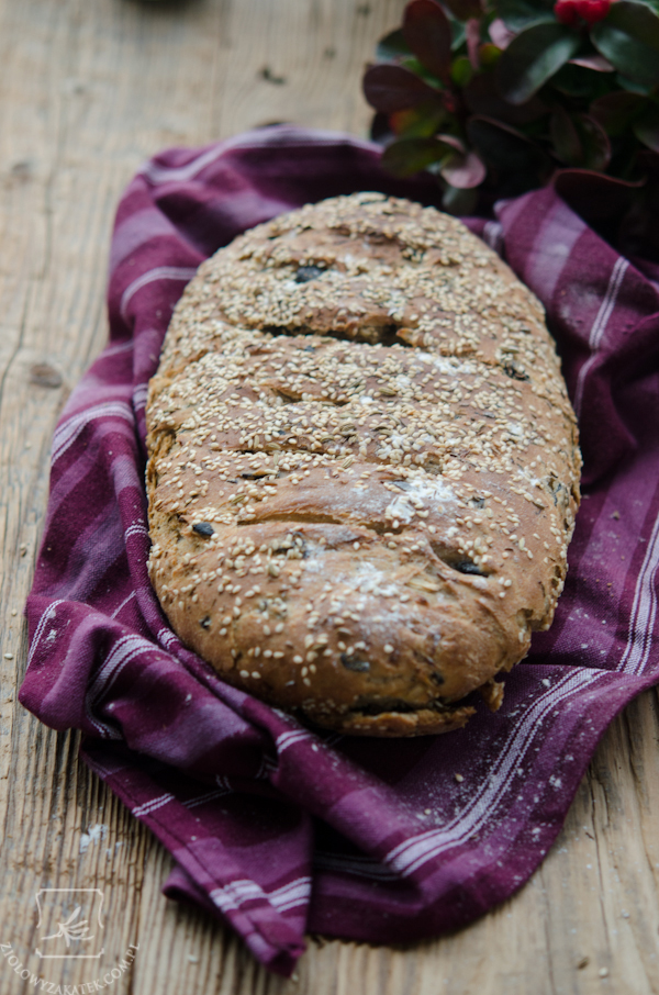 chleb zawierający oliwki, cebulę i kumin