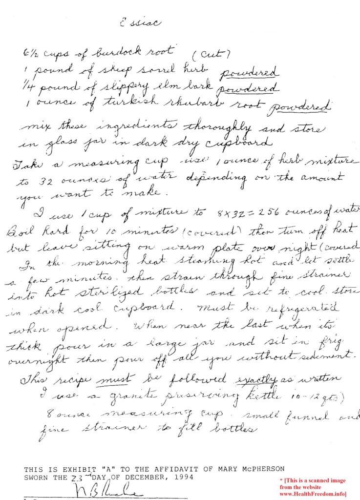 Mary McPherson's Affidavit Exhibit A